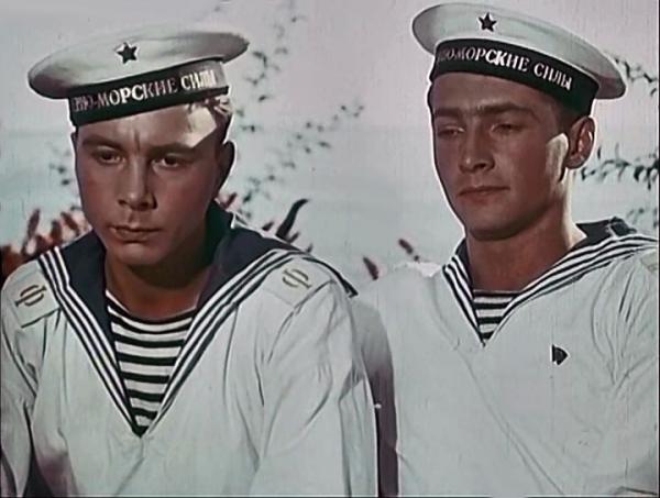 """Сергей Гурзо и Вячеслав Тихонов. """"В мирные дни"""" 1950 г."""