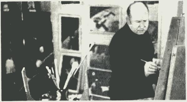 Дважды Герой Советского Союза летчик-космонавт СССР А. А. Леонов в своей мастерской. Кадр из фильма «Старт в великое будущее»