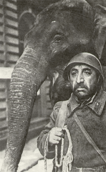 Арменак (Мгер Мкртчян) и слон Габуш вошли в опустевший город