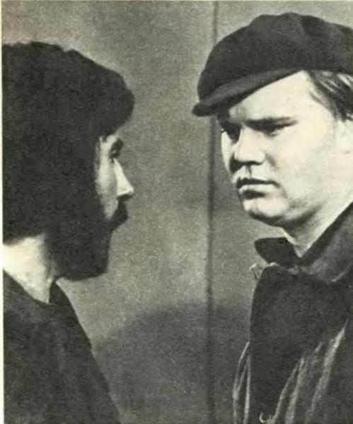 Токари М. Попов (Дерюгин) и И. Мунтяну (Борода) неожиданно для себя стали актерами